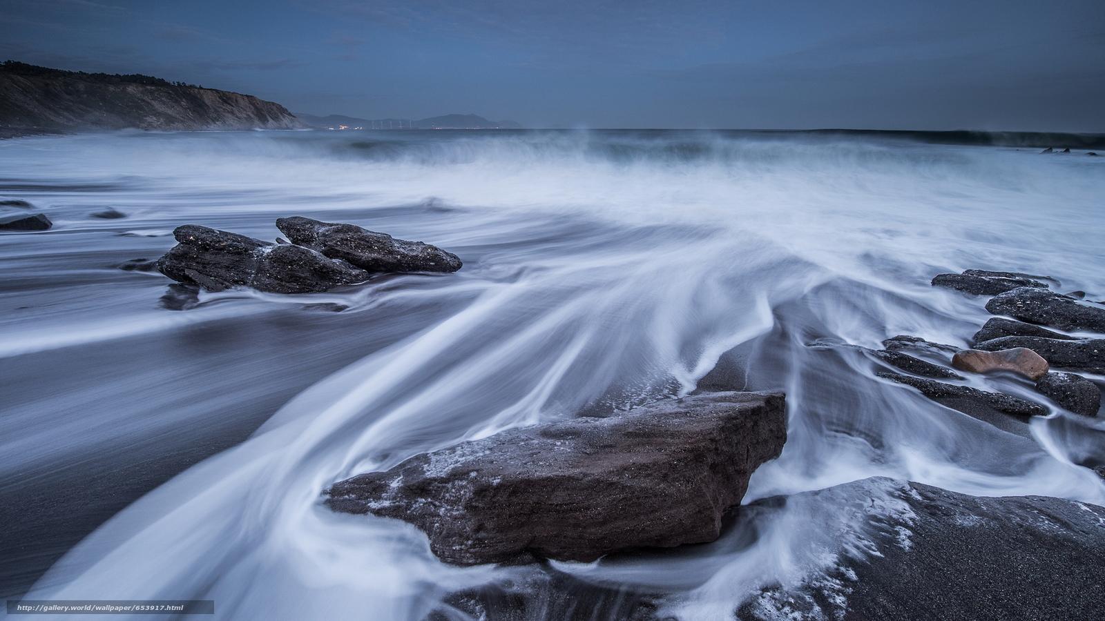 Скачать обои море,  океан,  водоем,  камни бесплатно для рабочего стола в разрешении 2048x1152 — картинка №653917