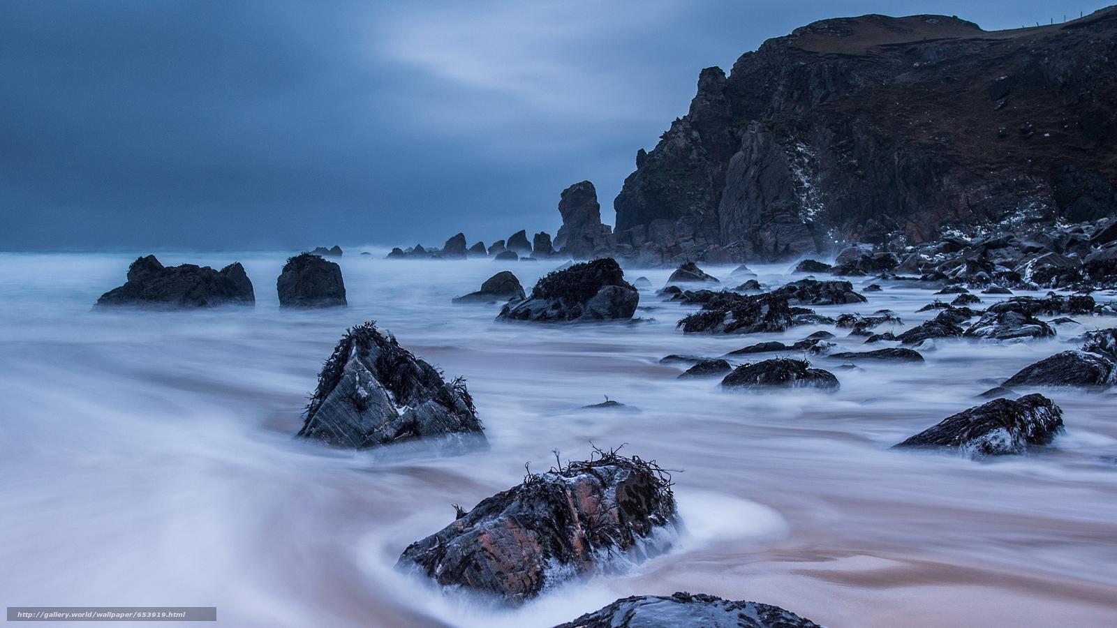 Скачать обои море,  океан,  водоем,  камни бесплатно для рабочего стола в разрешении 2048x1152 — картинка №653919