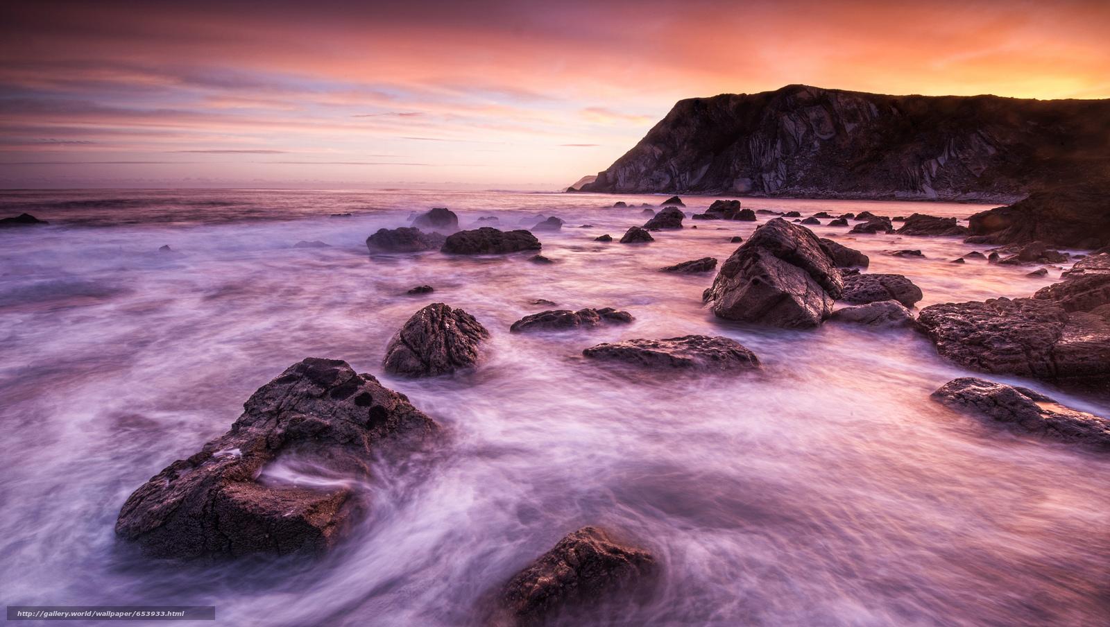 Скачать обои море,  океан,  водоем,  камни бесплатно для рабочего стола в разрешении 2048x1157 — картинка №653933