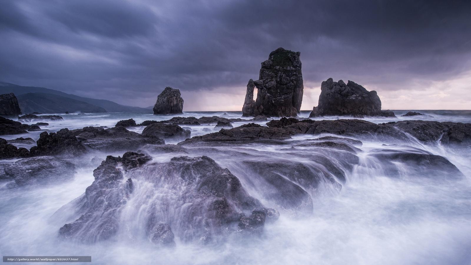 Скачать обои море,  океан,  водоем,  камни бесплатно для рабочего стола в разрешении 2048x1152 — картинка №653937