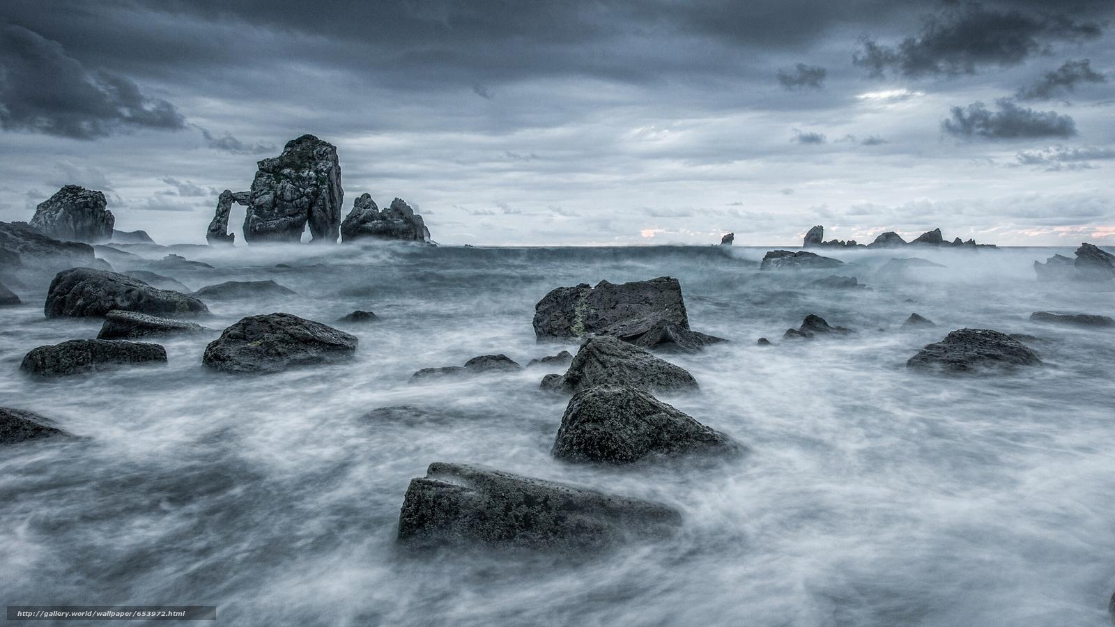 Скачать обои море,  океан,  водоем,  камни бесплатно для рабочего стола в разрешении 2048x1152 — картинка №653972