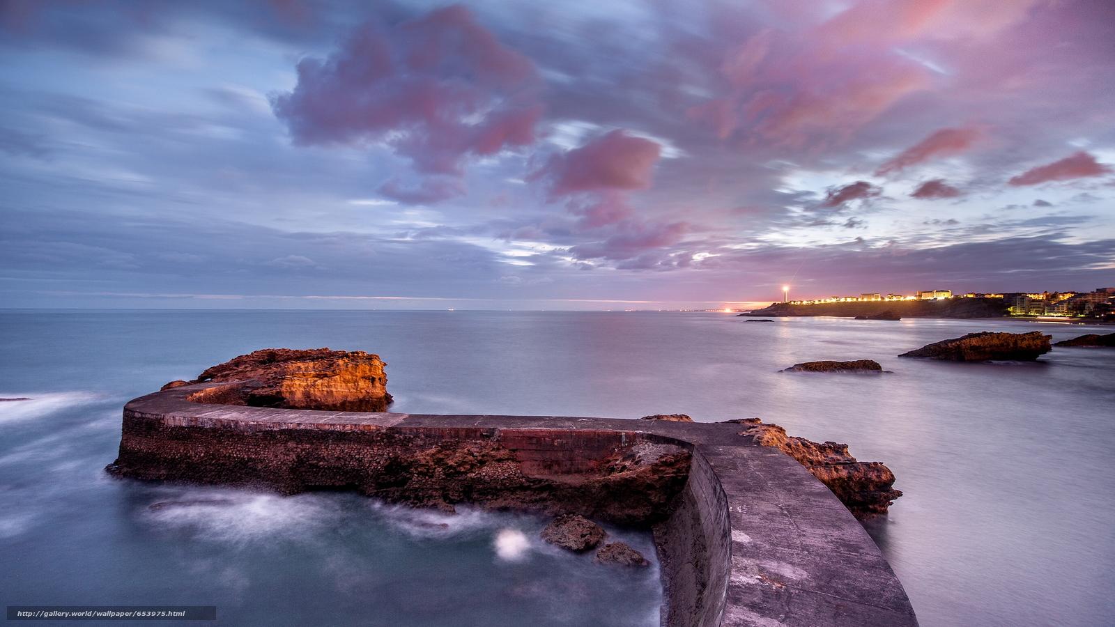Скачать обои море,  океан,  водоем,  камни бесплатно для рабочего стола в разрешении 2048x1152 — картинка №653975
