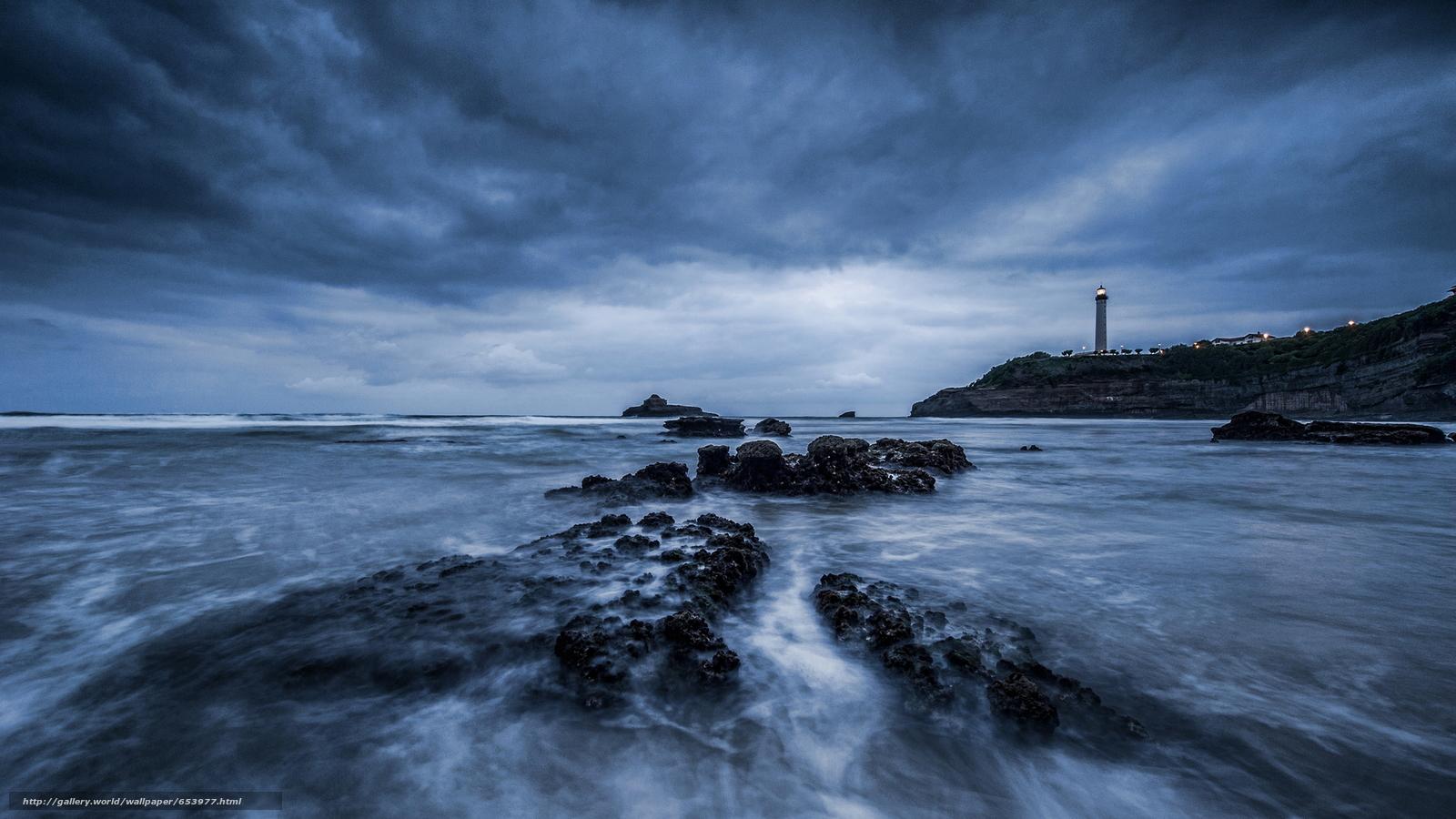 Скачать обои море,  океан,  водоем,  камни бесплатно для рабочего стола в разрешении 2048x1152 — картинка №653977