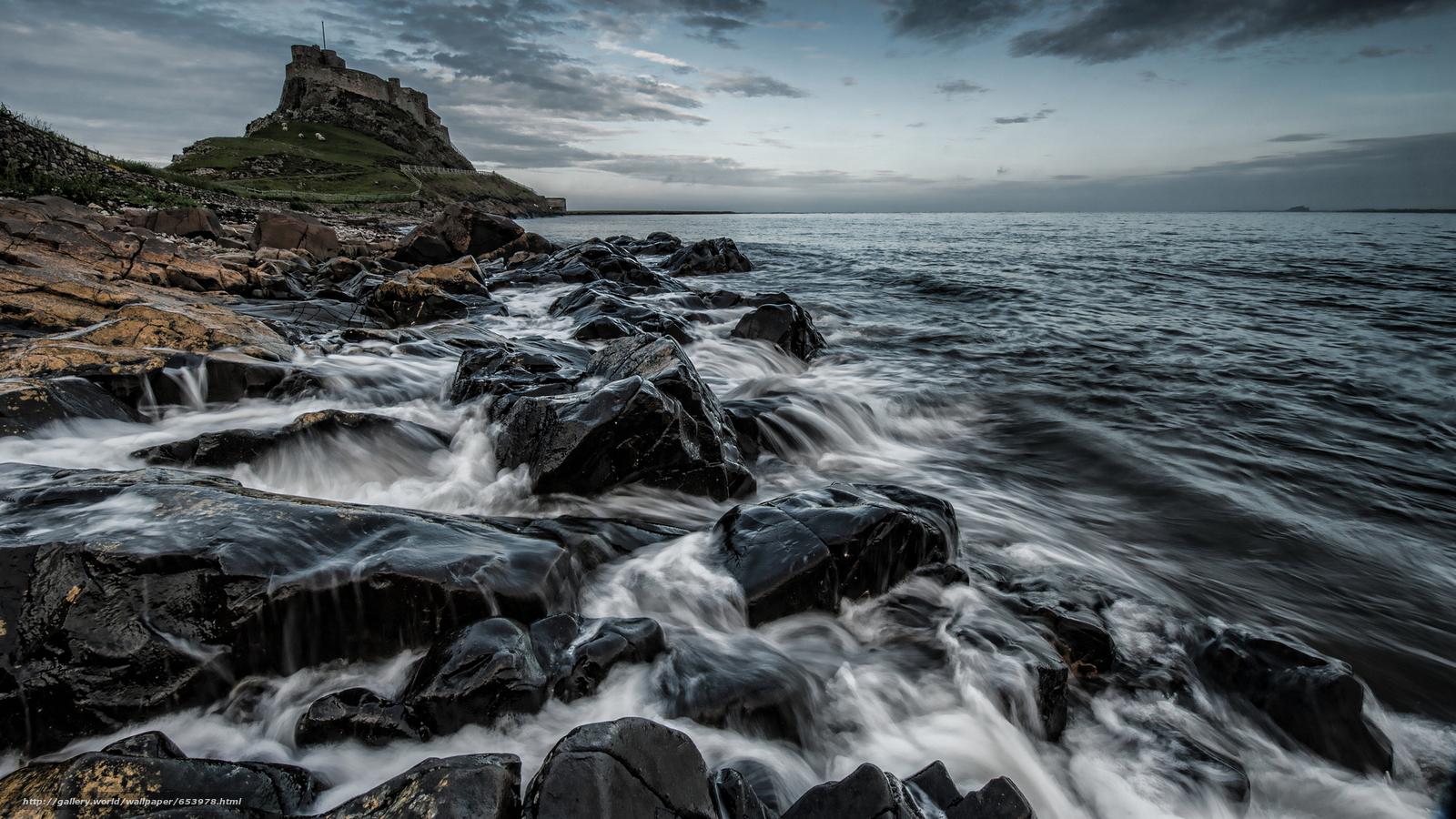 Скачать обои море,  океан,  водоем,  камни бесплатно для рабочего стола в разрешении 2048x1152 — картинка №653978