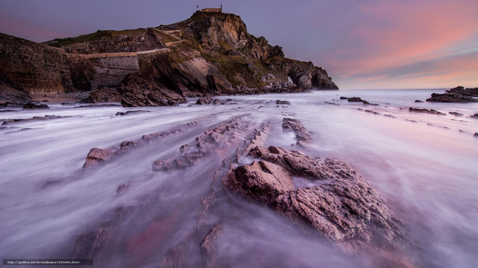Скачать обои море,  океан,  водоем,  камни бесплатно для рабочего стола в разрешении 2048x1152 — картинка №653981