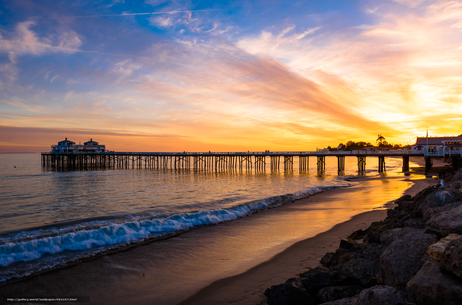 scaricare gli sfondi Malibu,  mare,  tramonto,  puntellare Sfondi gratis per la risoluzione del desktop 7302x4823 — immagine №654257
