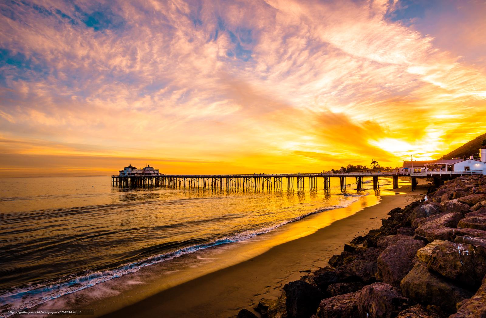 Скачать обои малибу,  море,  закат,  берег бесплатно для рабочего стола в разрешении 7265x4764 — картинка №654258