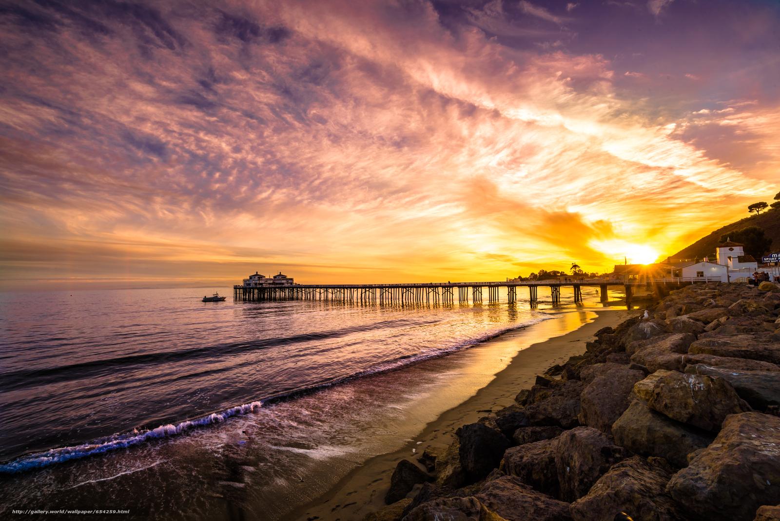 scaricare gli sfondi Malibu,  mare,  tramonto,  puntellare Sfondi gratis per la risoluzione del desktop 7360x4912 — immagine №654259