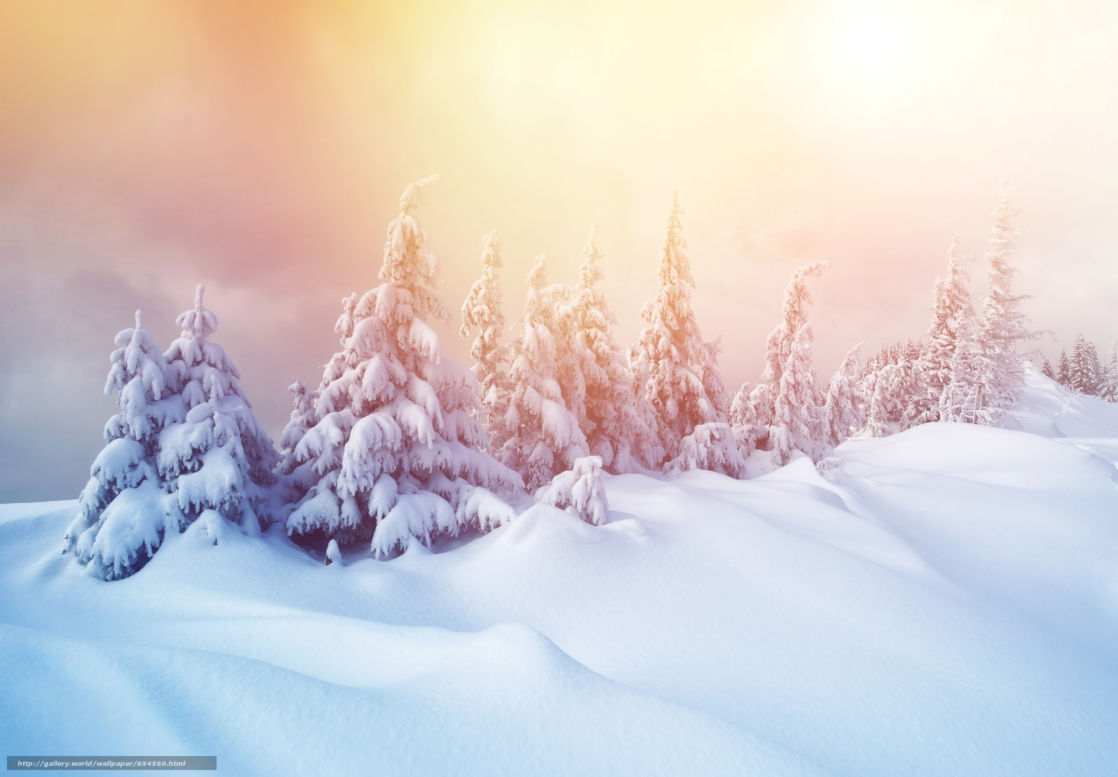 Download wallpaper winter,  snow,  drifts,  spruce free desktop wallpaper in the resolution 5180x3600 — picture №654560