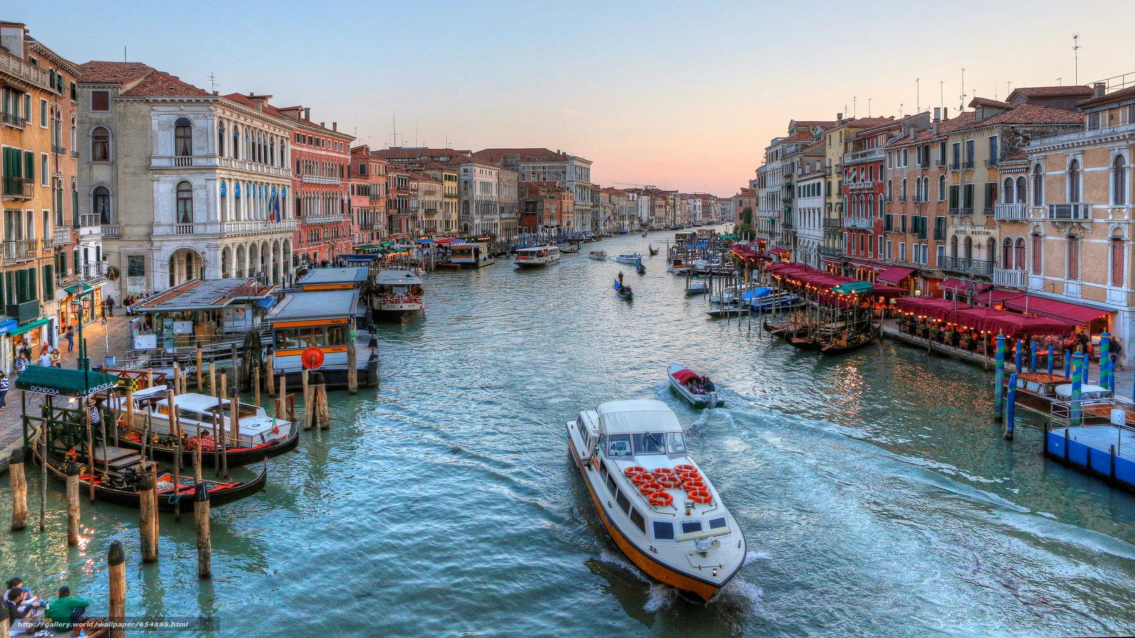 scaricare gli sfondi Venezia,  Canal Grande,  Italia Sfondi gratis per la risoluzione del desktop 2048x1152 — immagine №654885
