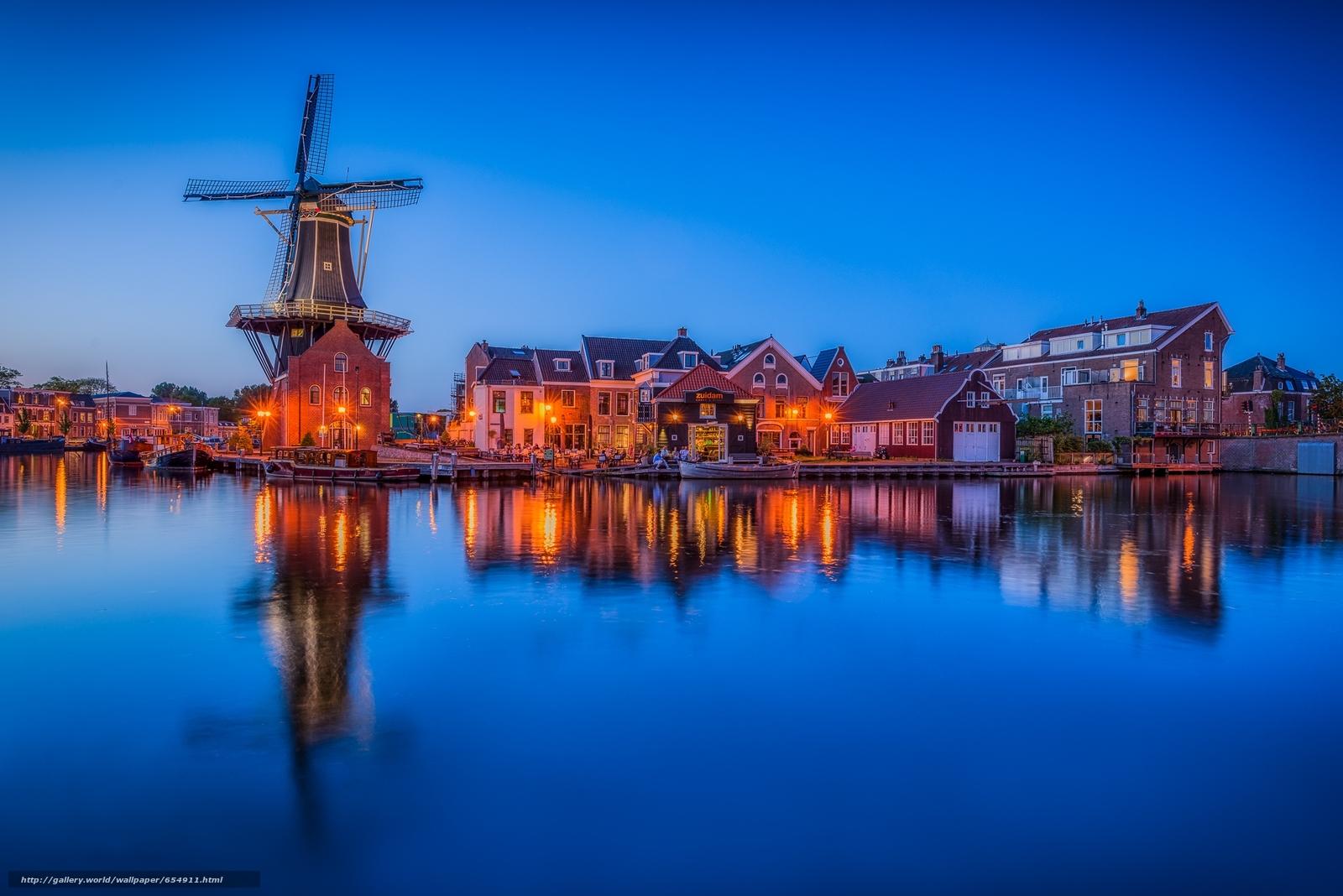 Descargar gratis Pueblo de Zaanse Schans,  Países Bajos,  puesta del sol,  paisaje Fondos de escritorio en la resolucin 2048x1367 — imagen №654911