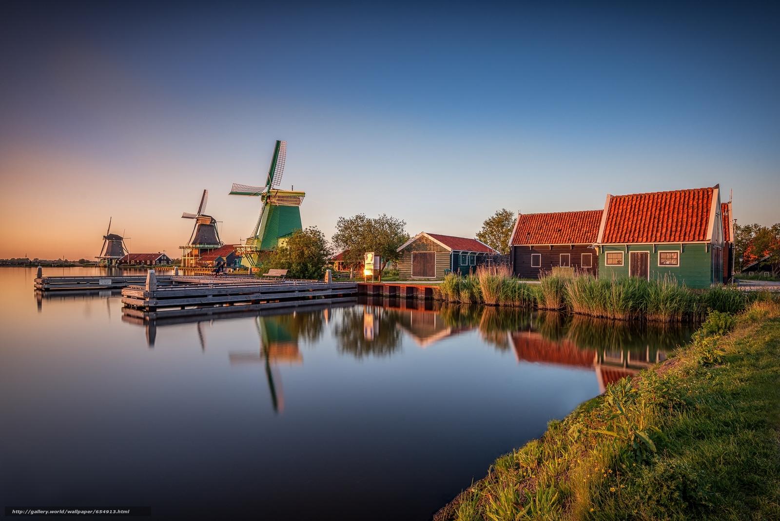 Скачать обои деревня Заансе Сханс,  Нидерланды,  закат,  пейзаж бесплатно для рабочего стола в разрешении 2048x1367 — картинка №654913