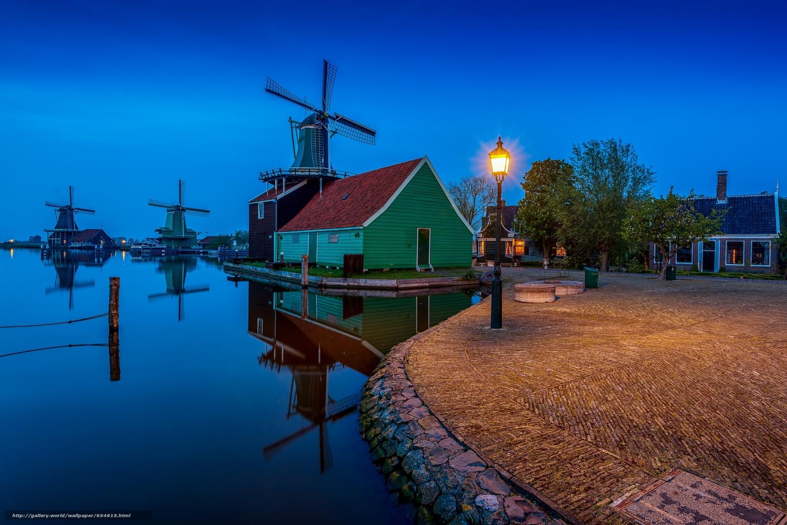 Скачать обои деревня Заансе Сханс,  Нидерланды,  закат,  пейзаж бесплатно для рабочего стола в разрешении 2048x1367 — картинка №654915