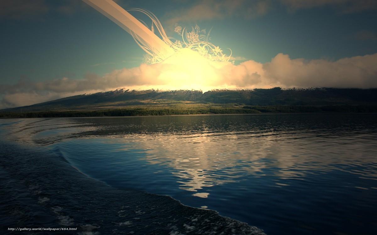Скачать обои озеро,  солнце,  восход бесплатно для рабочего стола в разрешении 1680x1050 — картинка №654
