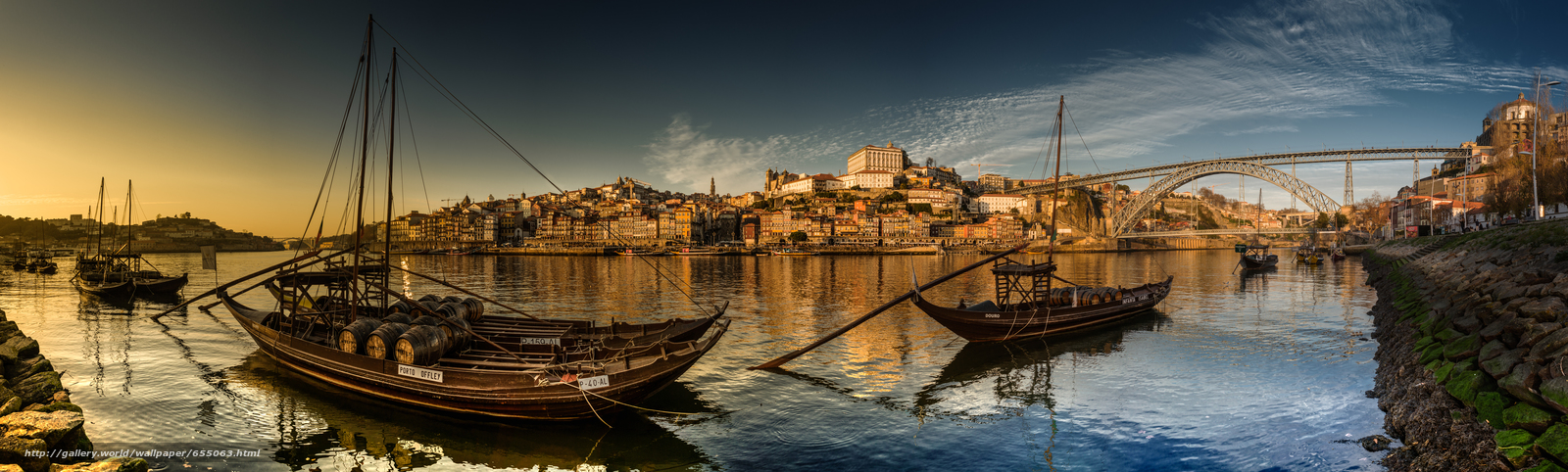 Download wallpaper Vila Nova de Gaia,  Porto,  Portugal,  Douro River free desktop wallpaper in the resolution 8000x2408 — picture №655063