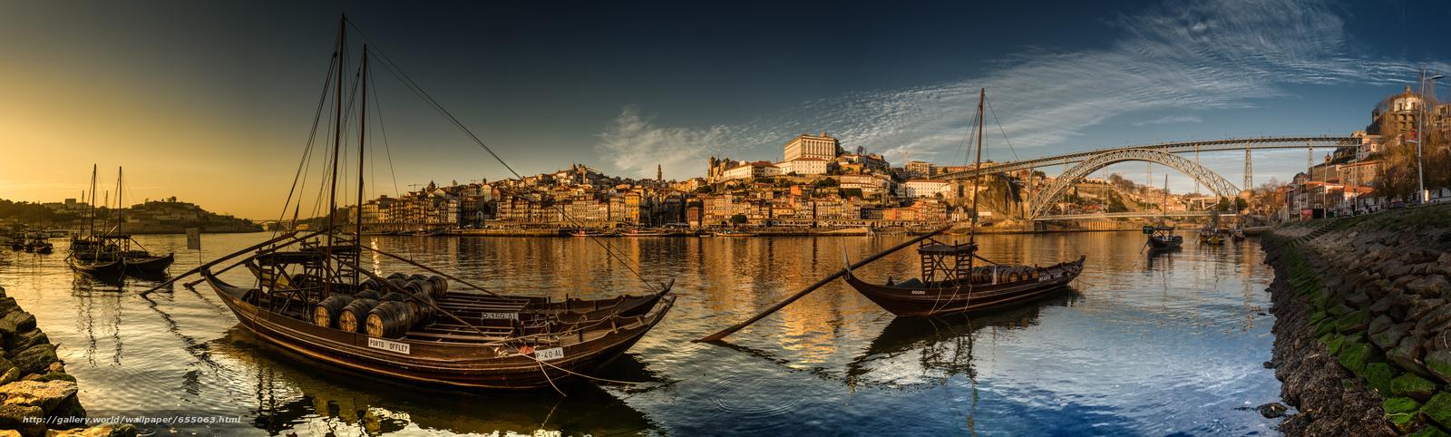 Скачать обои Vila Nova de Gaia,  Porto,  Portugal,  Douro River бесплатно для рабочего стола в разрешении 8000x2408 — картинка №655063