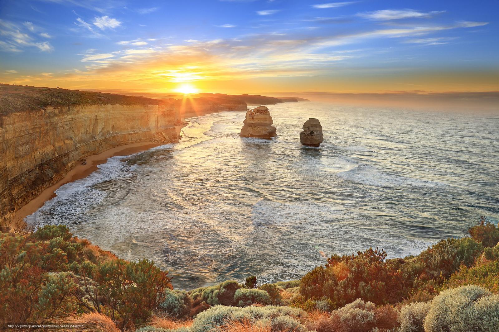 Download wallpaper sunset,  sea,  Rocks,  landscape free desktop wallpaper in the resolution 2048x1365 — picture №655124