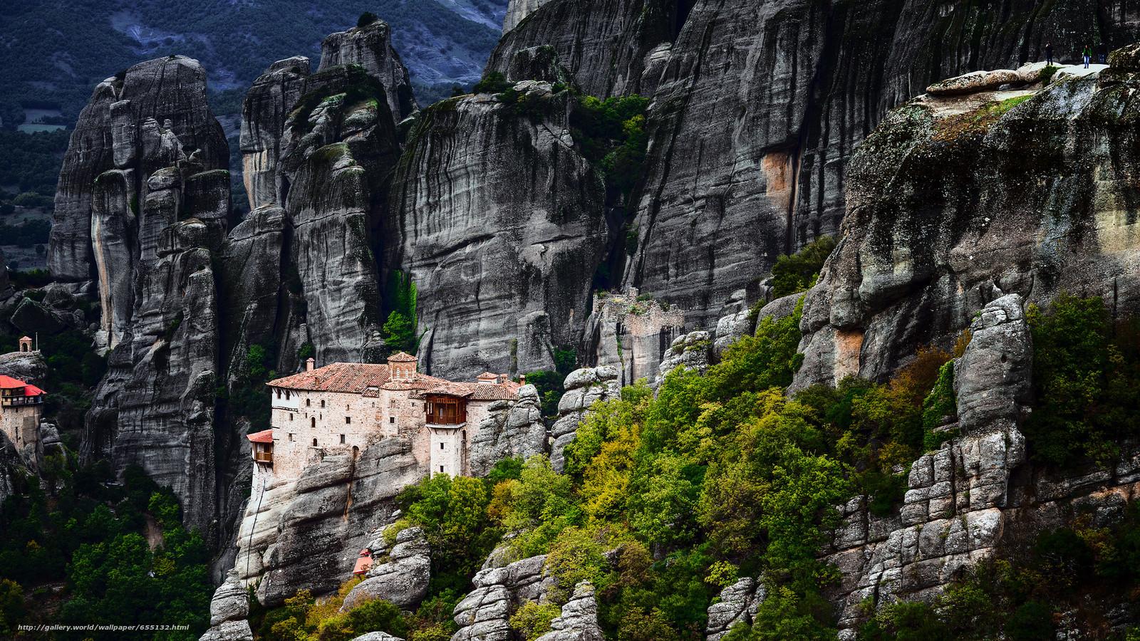 scaricare gli sfondi Griechenland,  Meteora Kloster,  Montagne,  Rocce Sfondi gratis per la risoluzione del desktop 2048x1152 — immagine №655132