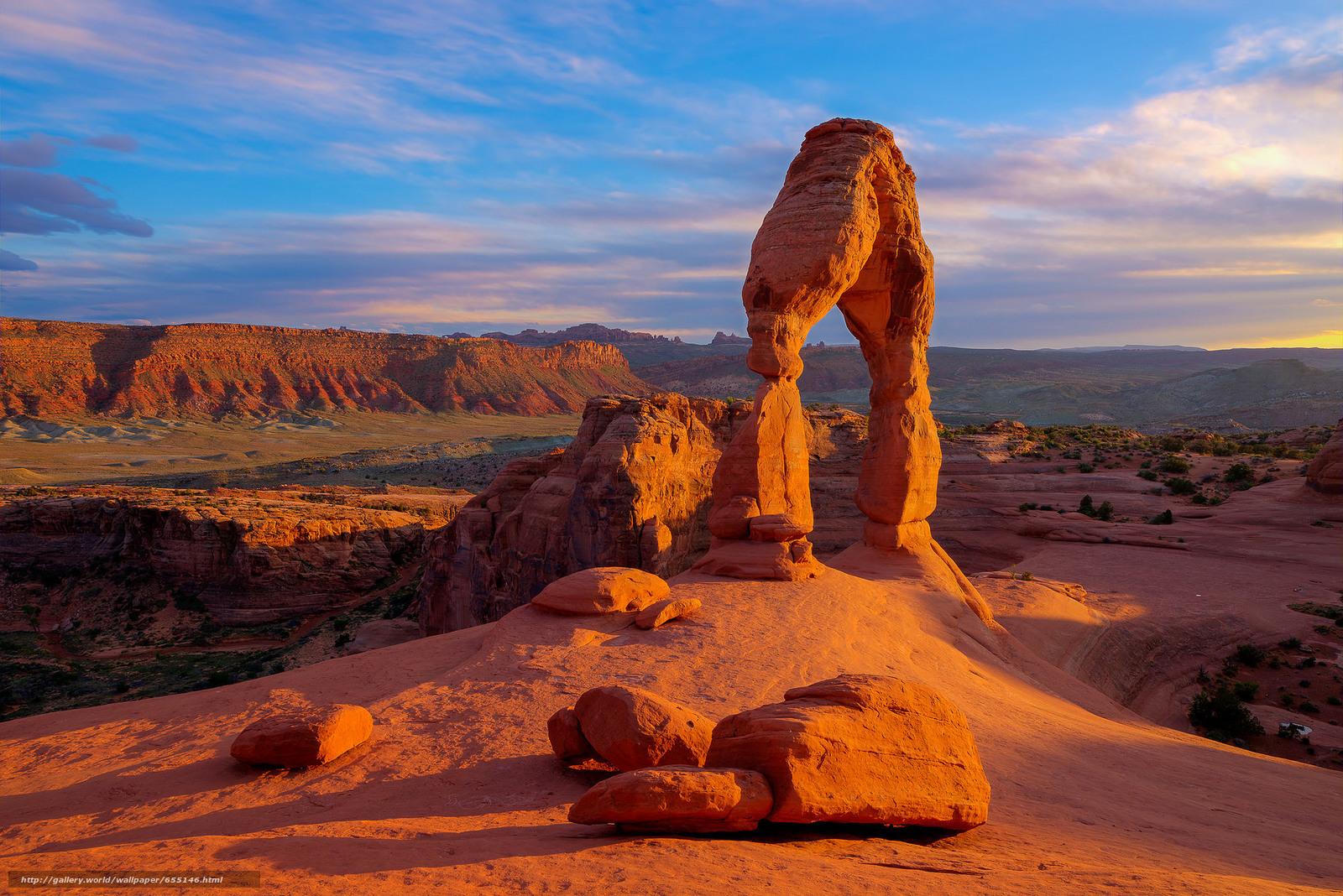 scaricare gli sfondi Delicate Arch,  Arches National Park,  tramonto,  Rocce Sfondi gratis per la risoluzione del desktop 2048x1367 — immagine №655146