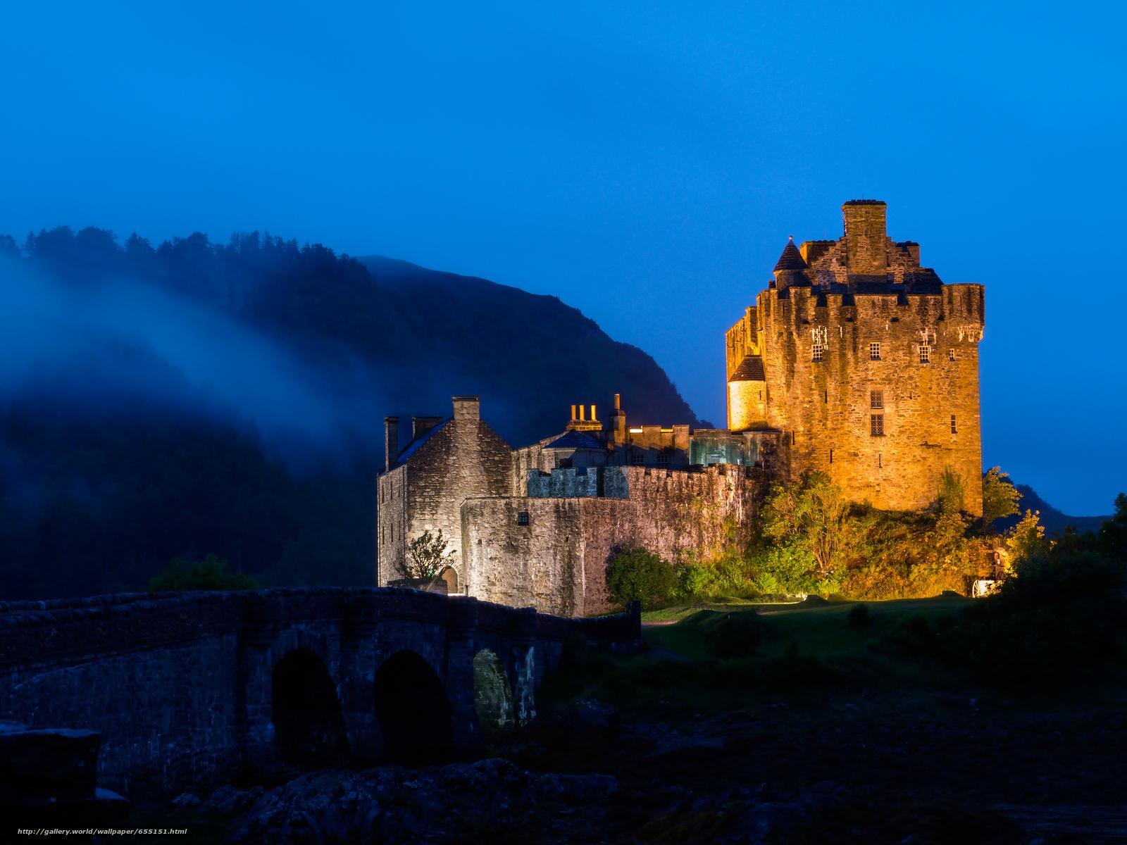 scaricare gli sfondi Eilean Donan Castle,  Scozia,  notte Sfondi gratis per la risoluzione del desktop 4000x3000 — immagine №655151