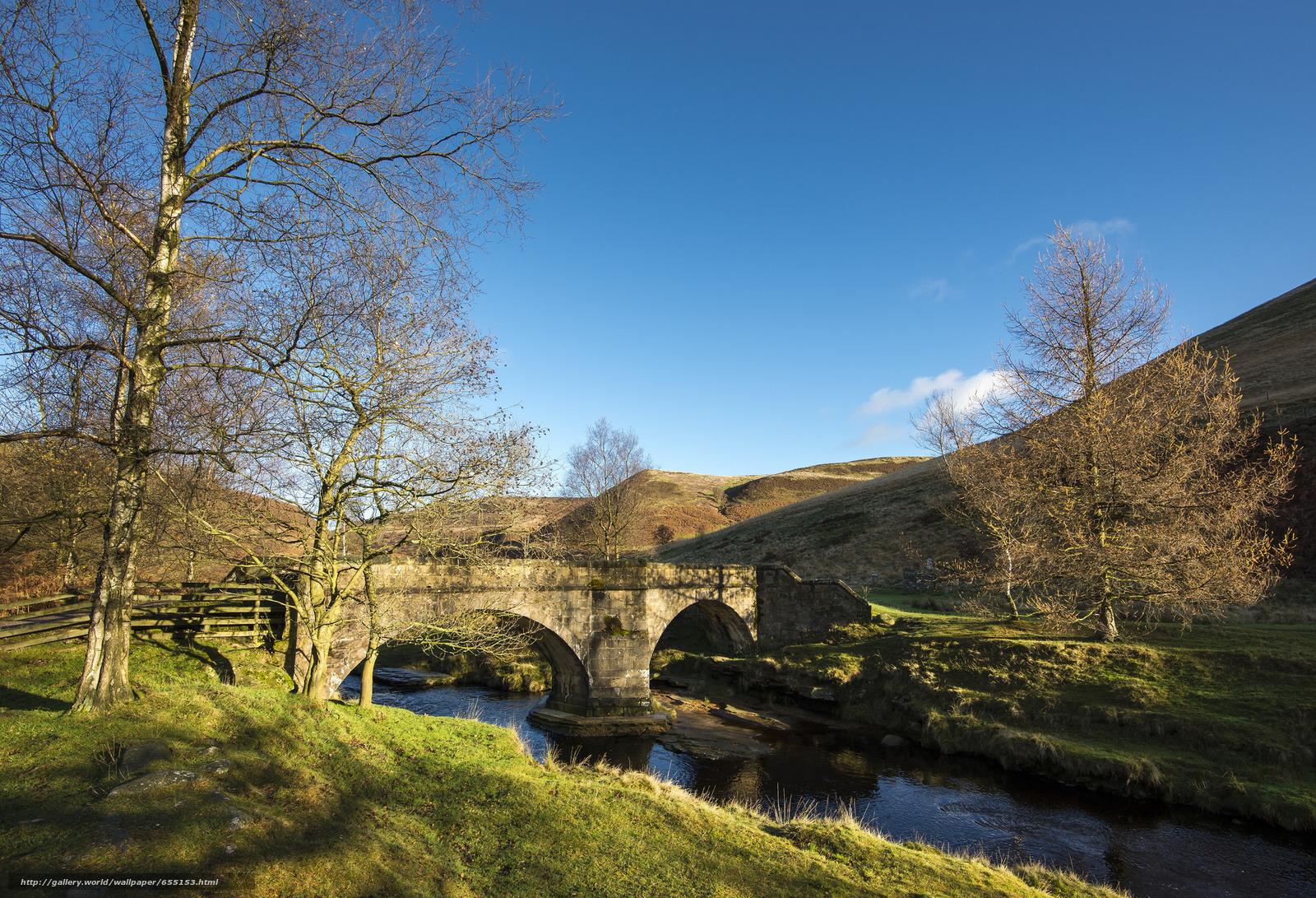 Descargar gratis río,  puente,  Hills,  árboles Fondos de escritorio en la resolucin 2048x1397 — imagen №655153