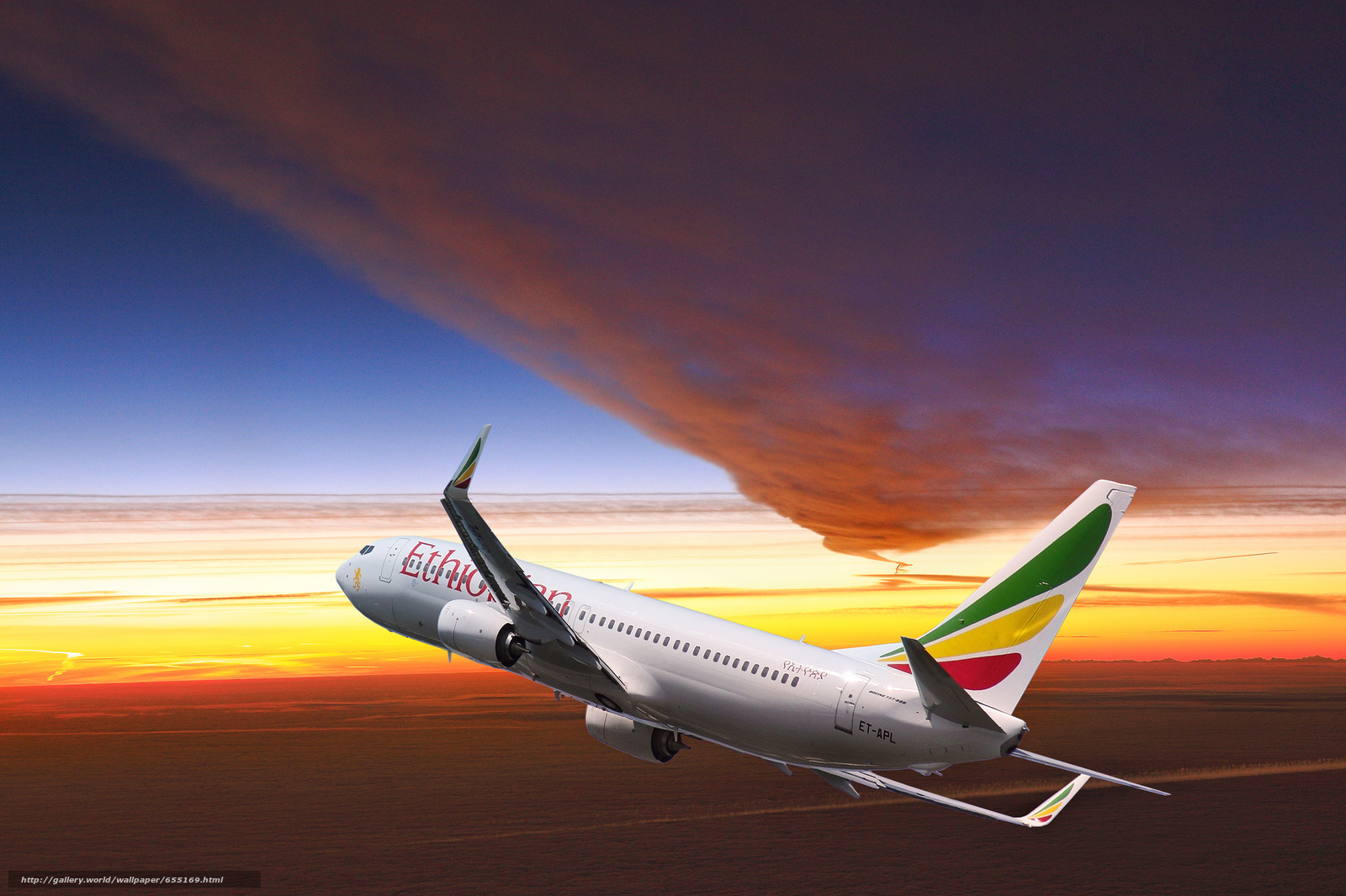 Download wallpaper plane,  sky,  sunset,  Ethiopian Airlines free desktop wallpaper in the resolution 2048x1365 — picture №655169