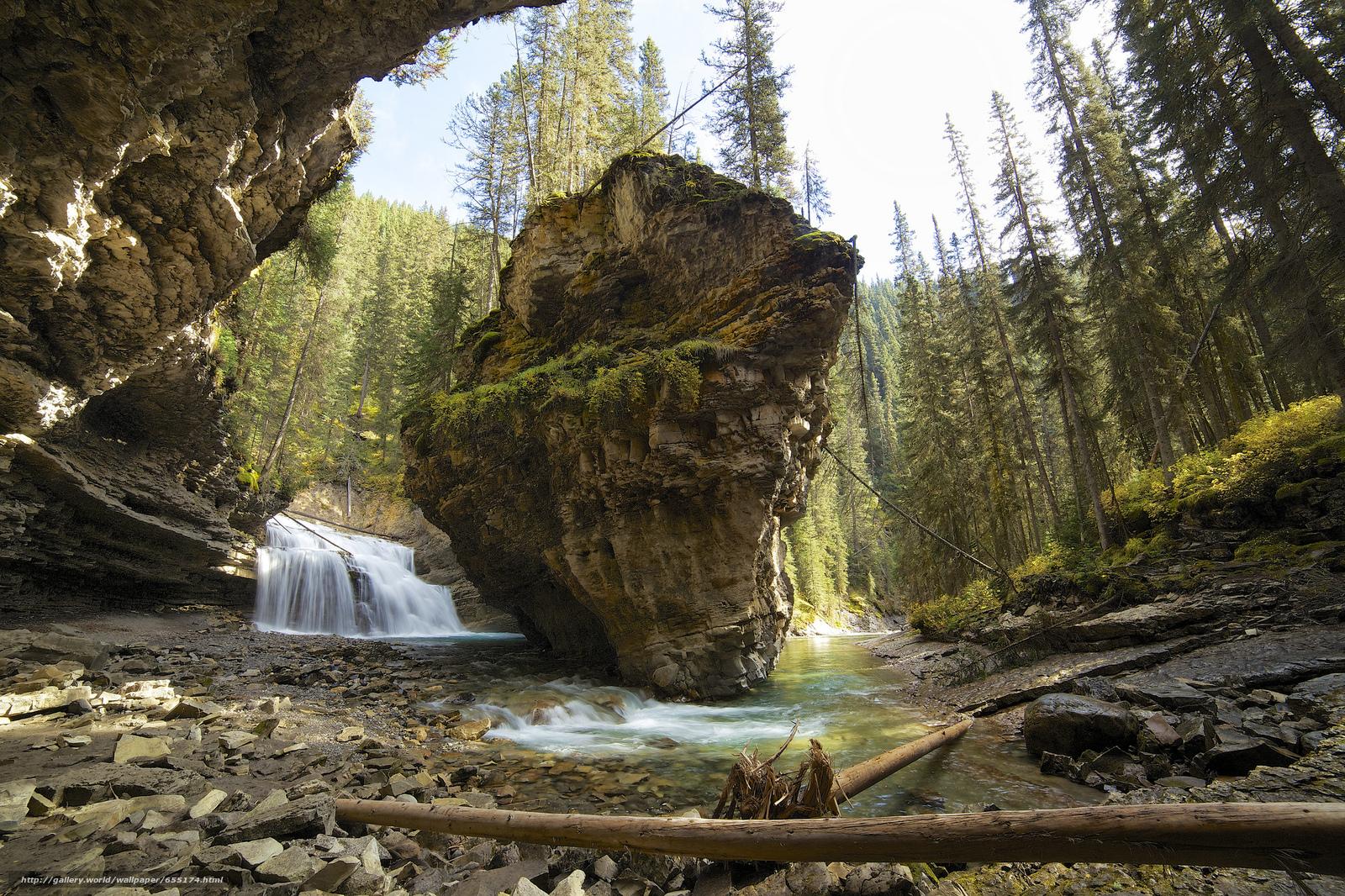 scaricare gli sfondi Alberta,  Canada,  Canyon Johnson,  cascata Sfondi gratis per la risoluzione del desktop 2048x1365 — immagine №655174