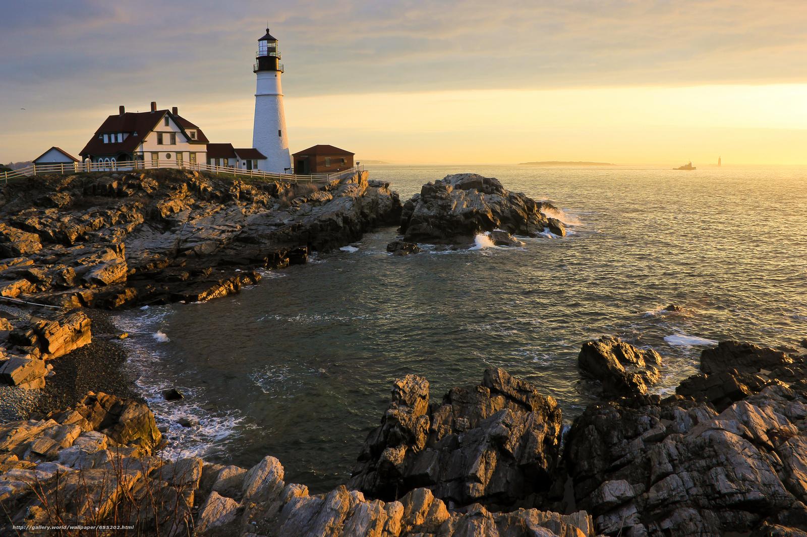 Скачать обои Portland Head Light,  Cape Elizabeth,  Maine,  маяк бесплатно для рабочего стола в разрешении 2048x1365 — картинка №655202