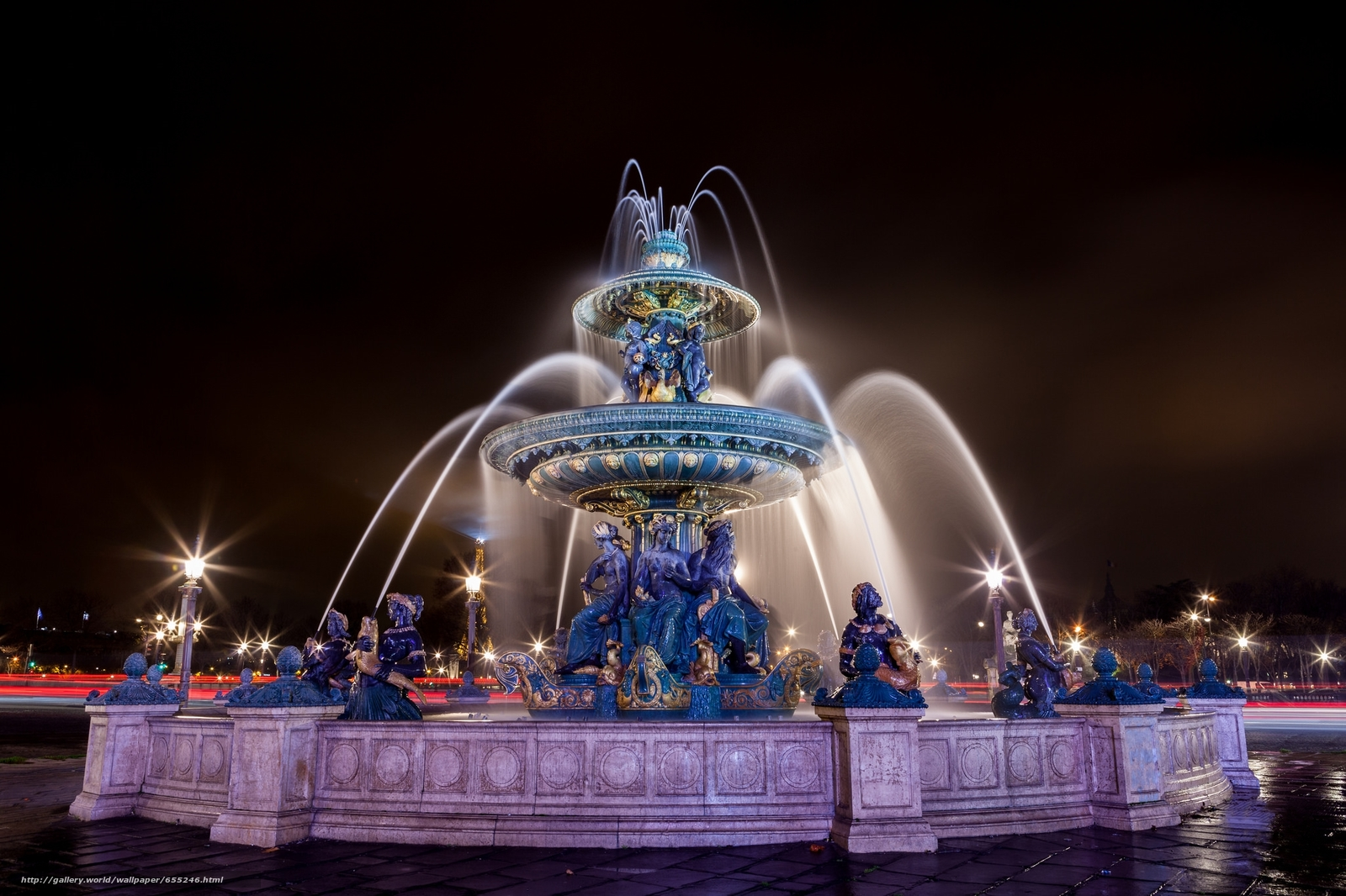 Download wallpaper Fountain of the Seas,  Concorde,  Paris,  France free desktop wallpaper in the resolution 2048x1365 — picture №655246