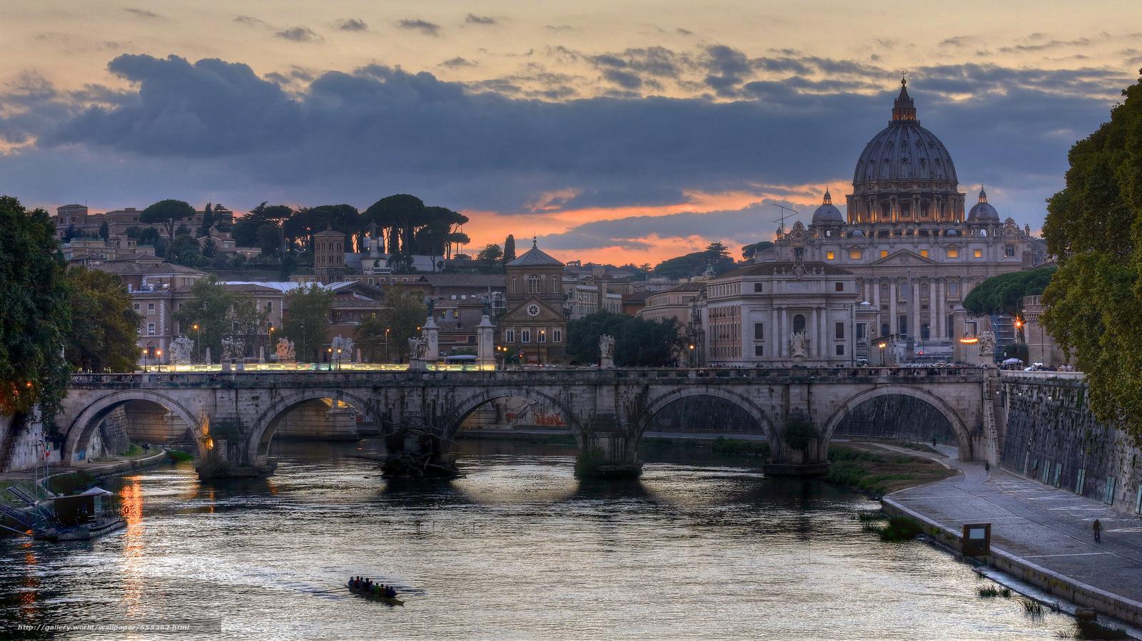 Download wallpaper Roman Bridge of Hadrian,  Rome,  Italy,  Castel Sant'Angelo free desktop wallpaper in the resolution 2048x1151 — picture №655262