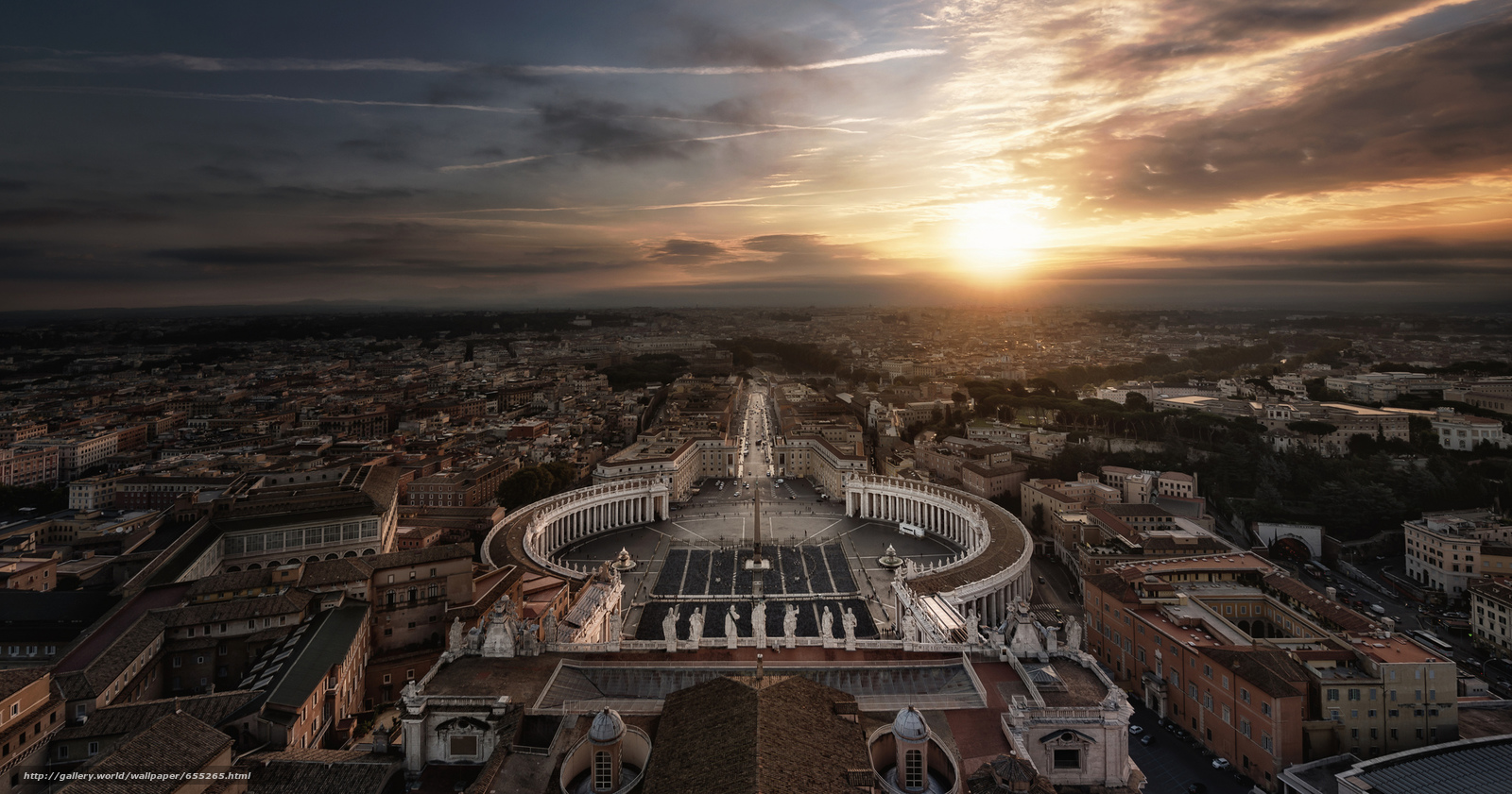 Download wallpaper Rome,  view from the top of the dome of St. Peter's,  Vatican,  city free desktop wallpaper in the resolution 2048x1077 — picture №655265