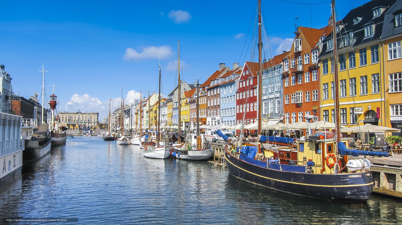 scaricare gli sfondi Nyhavn,  Copenhagen,  Danimarca Sfondi gratis per la risoluzione del desktop 2048x1150 — immagine №655270