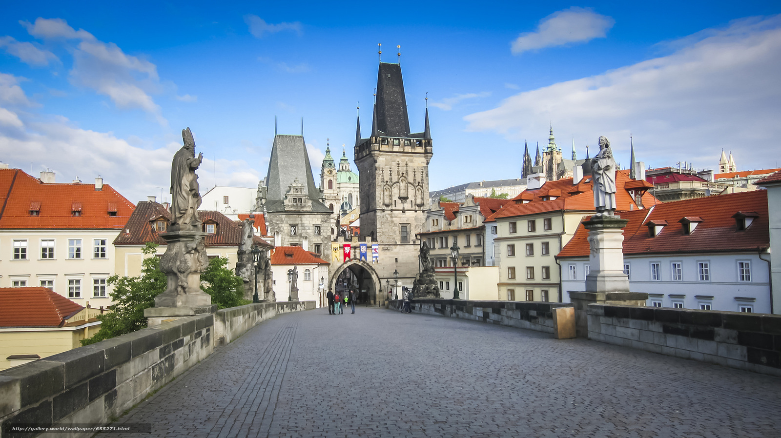 Download wallpaper Charles Bridge,  Prague,  Czech Republic free desktop wallpaper in the resolution 2048x1150 — picture №655271