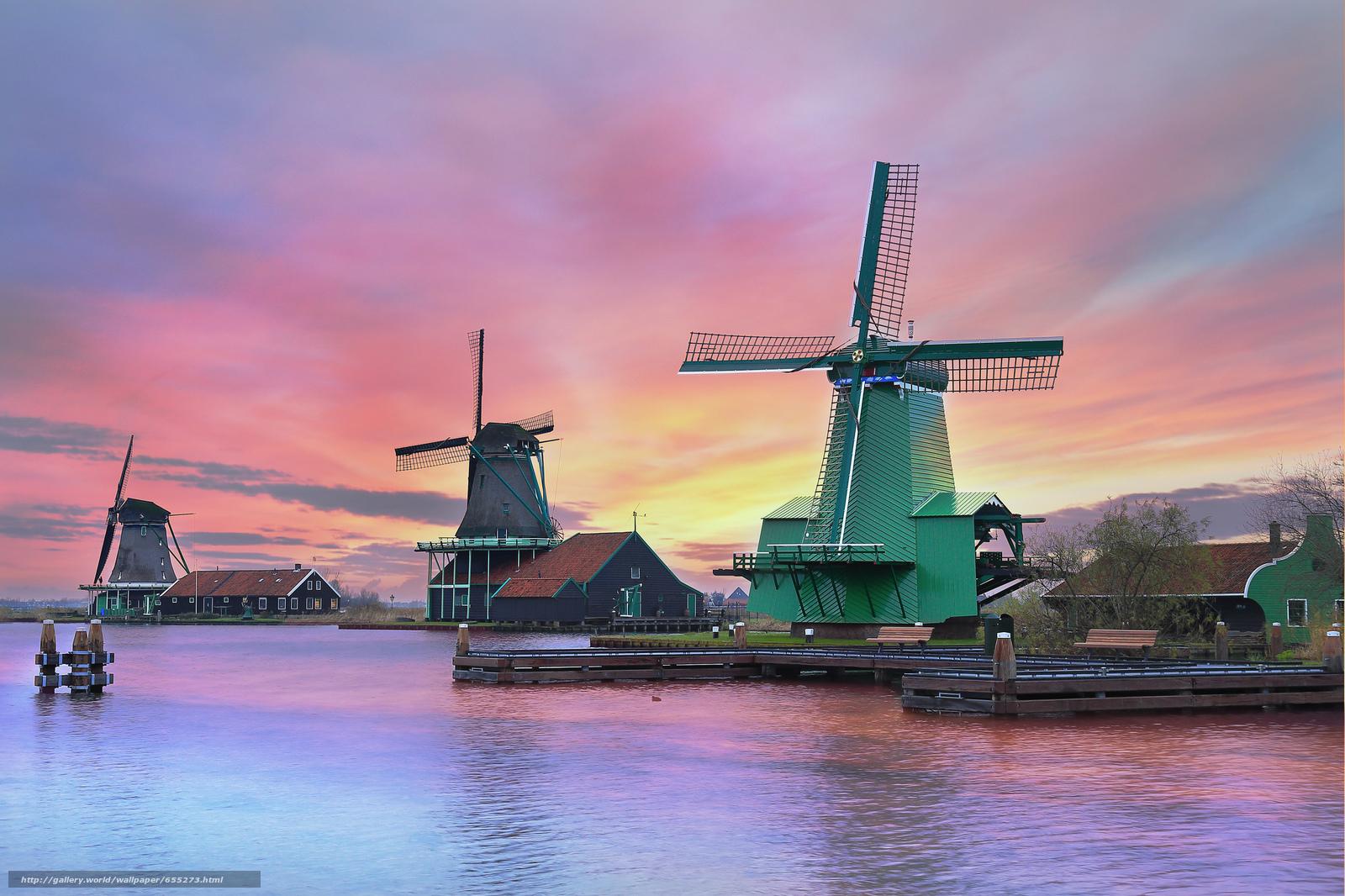 Скачать обои Zaanschans,  Нидерланды,  Amsterdam,  Netherlands бесплатно для рабочего стола в разрешении 2048x1365 — картинка №655273