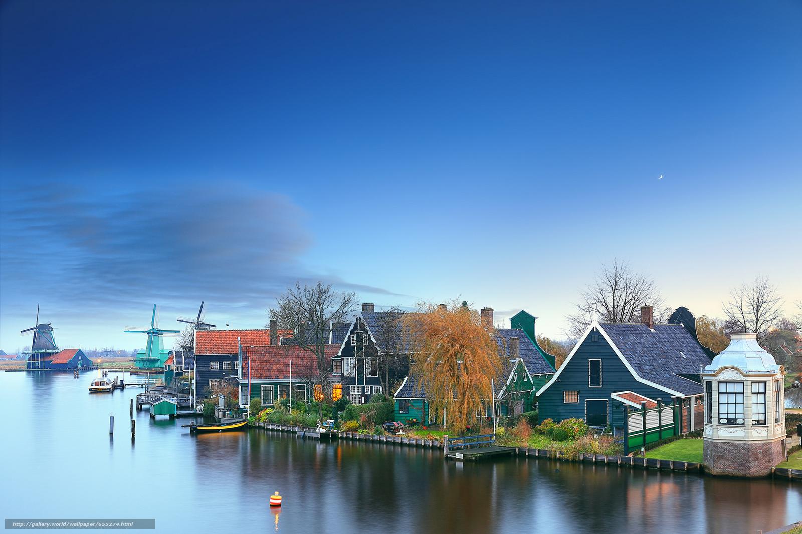 Скачать обои Zaanschans - Нидерланды,  Amsterdam,  Netherlands,  закат бесплатно для рабочего стола в разрешении 2048x1365 — картинка №655274