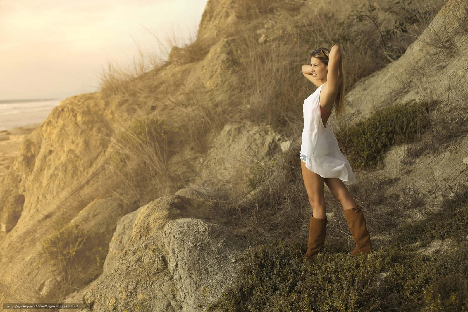 Download wallpaper model,  pose,  Boots,  coast free desktop wallpaper in the resolution 5472x3648 — picture №655298