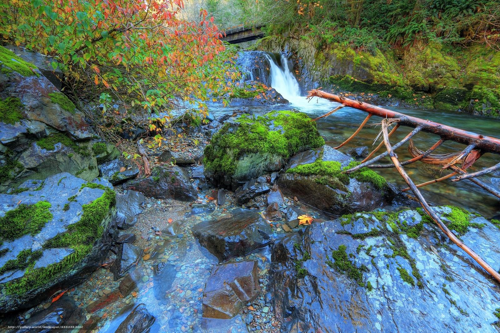 Скачать обои речка,  водопад,  скалы,  камни бесплатно для рабочего стола в разрешении 2048x1365 — картинка №655335