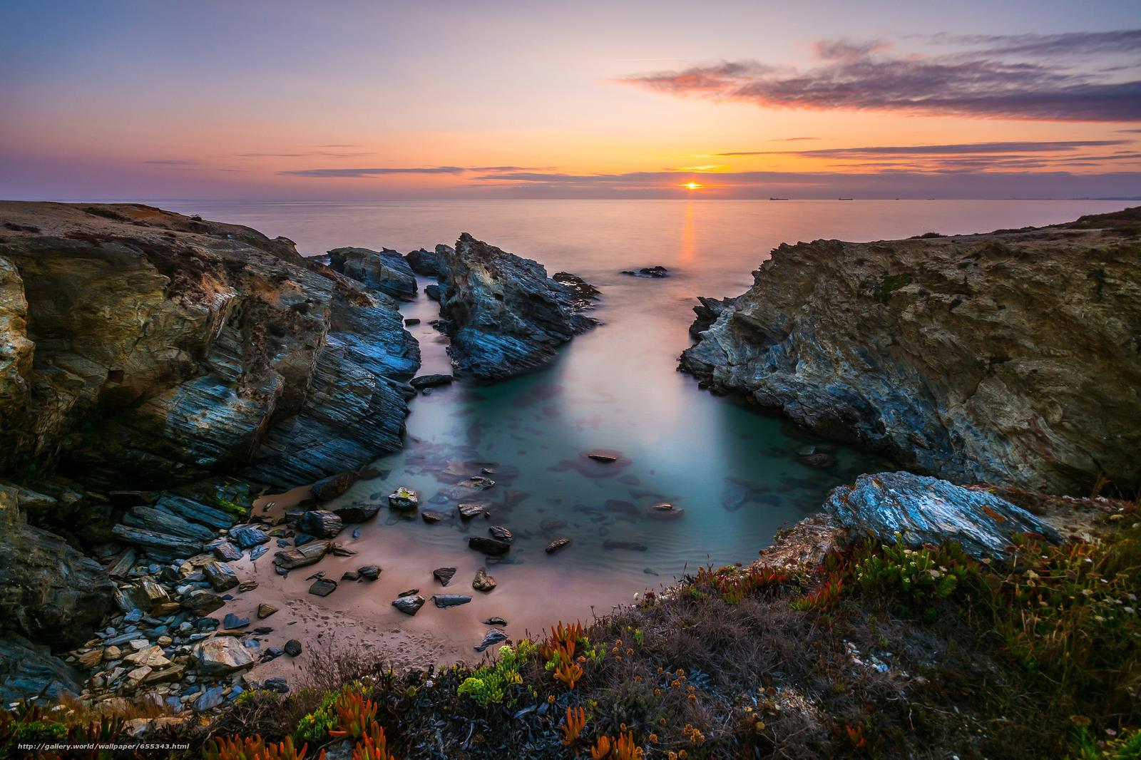 Скачать обои Португалия,  Западное побережье,  море,  скалы бесплатно для рабочего стола в разрешении 2048x1365 — картинка №655343