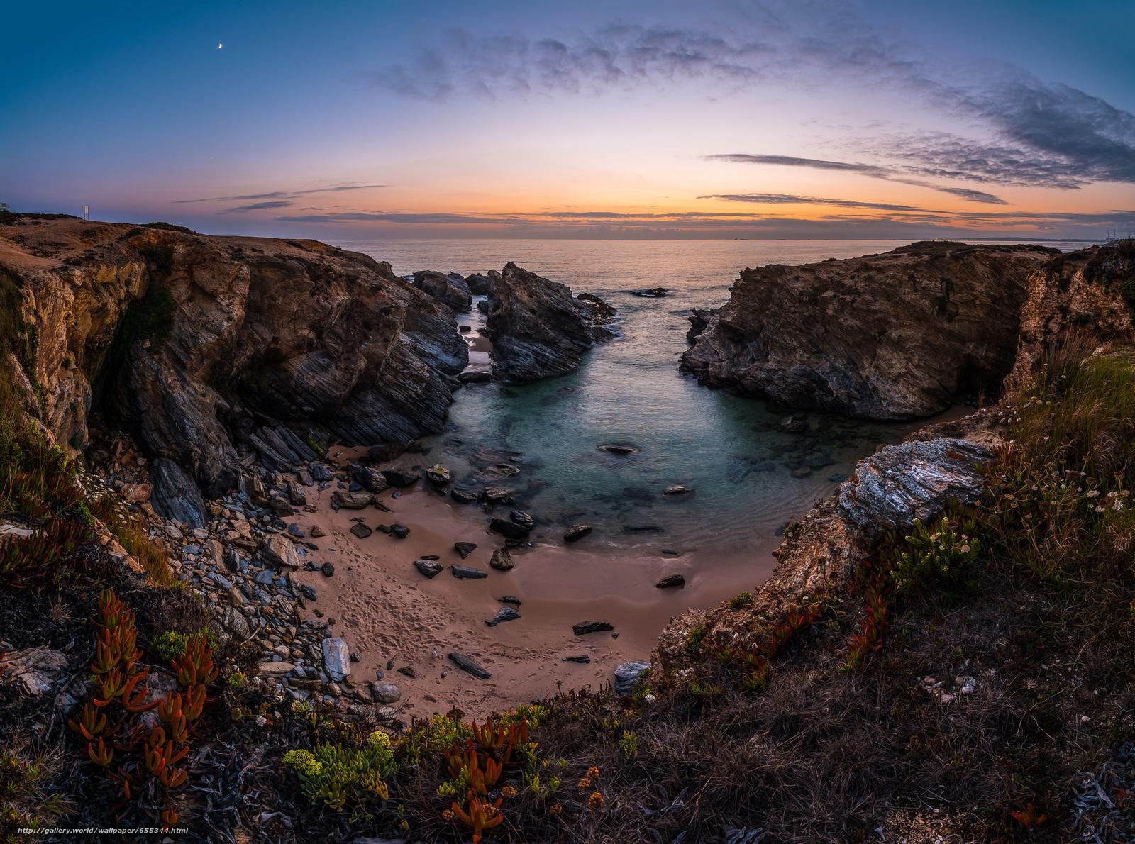 Скачать обои Португалия,  Западное побережье,  море,  скалы бесплатно для рабочего стола в разрешении 2048x1523 — картинка №655344