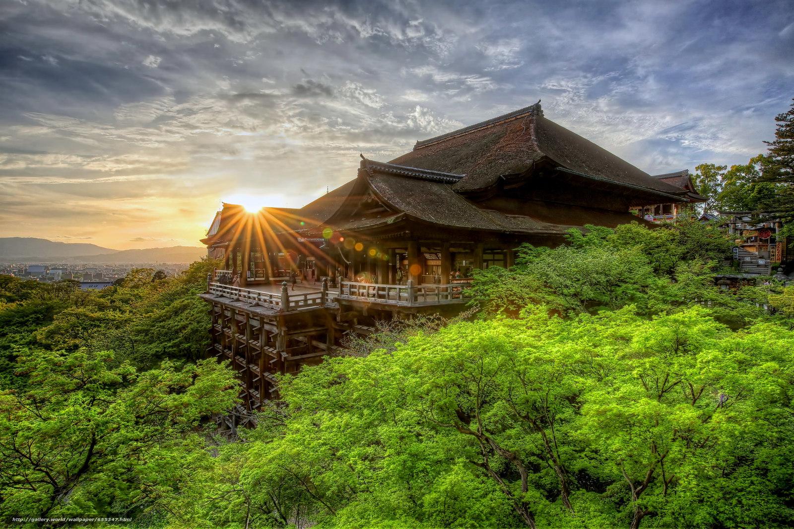 Скачать обои Киемидзу-дера,  храм,  Закат,  Киото бесплатно для рабочего стола в разрешении 2048x1363 — картинка №655347