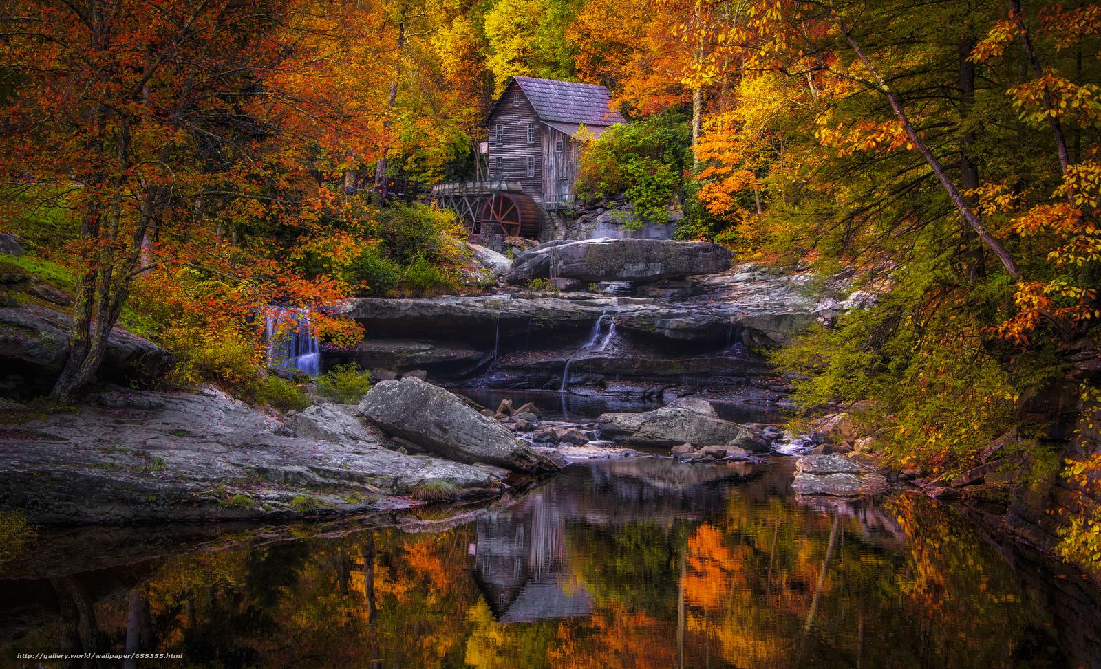 scaricare gli sfondi Glade Creek Grist Mill,  West Virginia,  mulino ad acqua,  cascata Sfondi gratis per la risoluzione del desktop 2048x1245 — immagine №655355