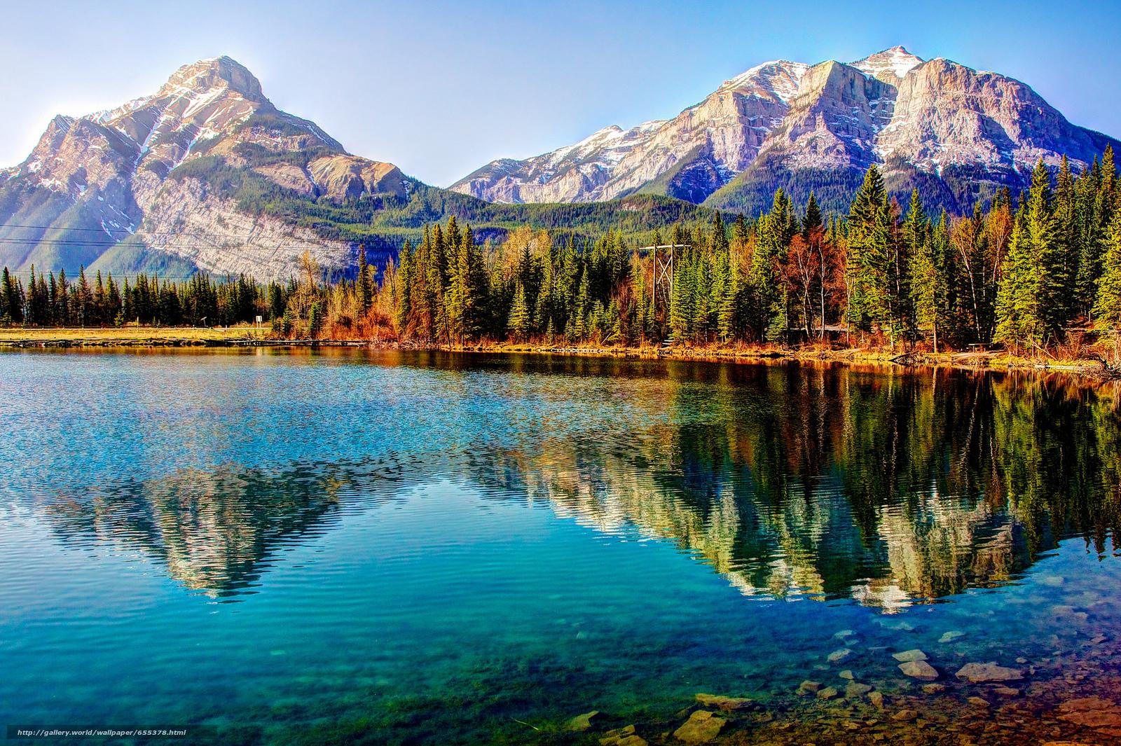 Скачать обои озеро,  горы,  деревья,  пейзаж бесплатно для рабочего стола в разрешении 2048x1363 — картинка №655378