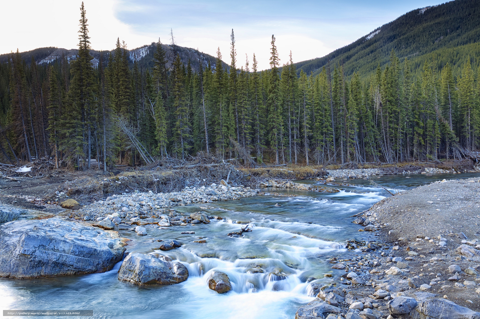 scaricare gli sfondi fiume,  alberi,  pietre,  Montagne Sfondi gratis per la risoluzione del desktop 2048x1365 — immagine №655385