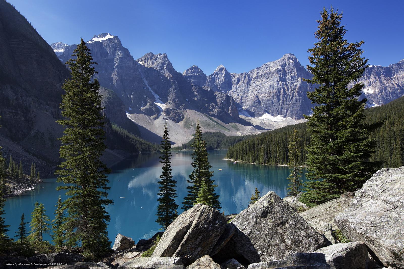 scaricare gli sfondi Lago Moraine,  Banff,  Rocky Mountain,  Canada Sfondi gratis per la risoluzione del desktop 2048x1365 — immagine №655394