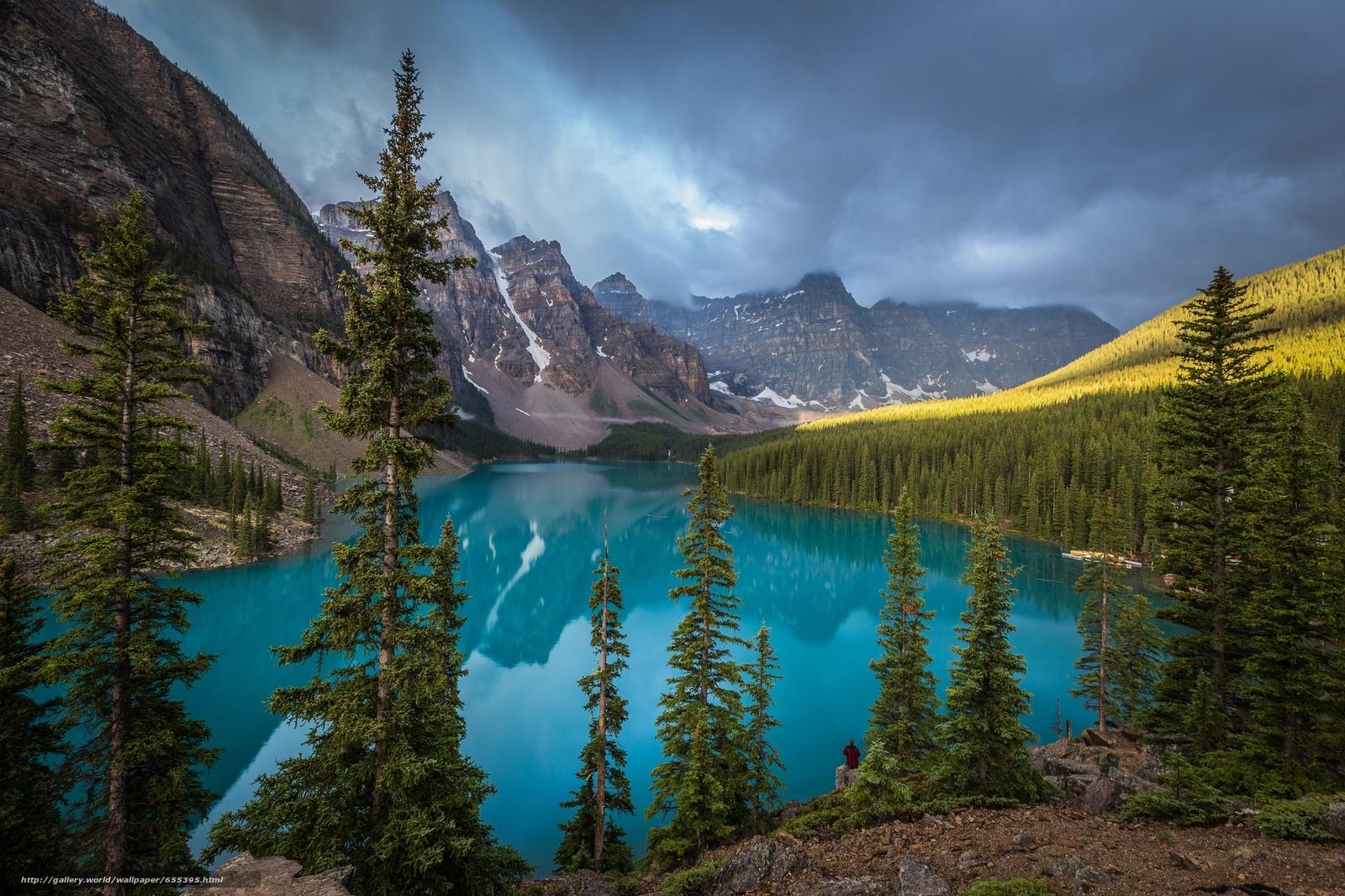 scaricare gli sfondi Lago Moraine,  Banff,  Rocky Mountain,  Canada Sfondi gratis per la risoluzione del desktop 2048x1365 — immagine №655395