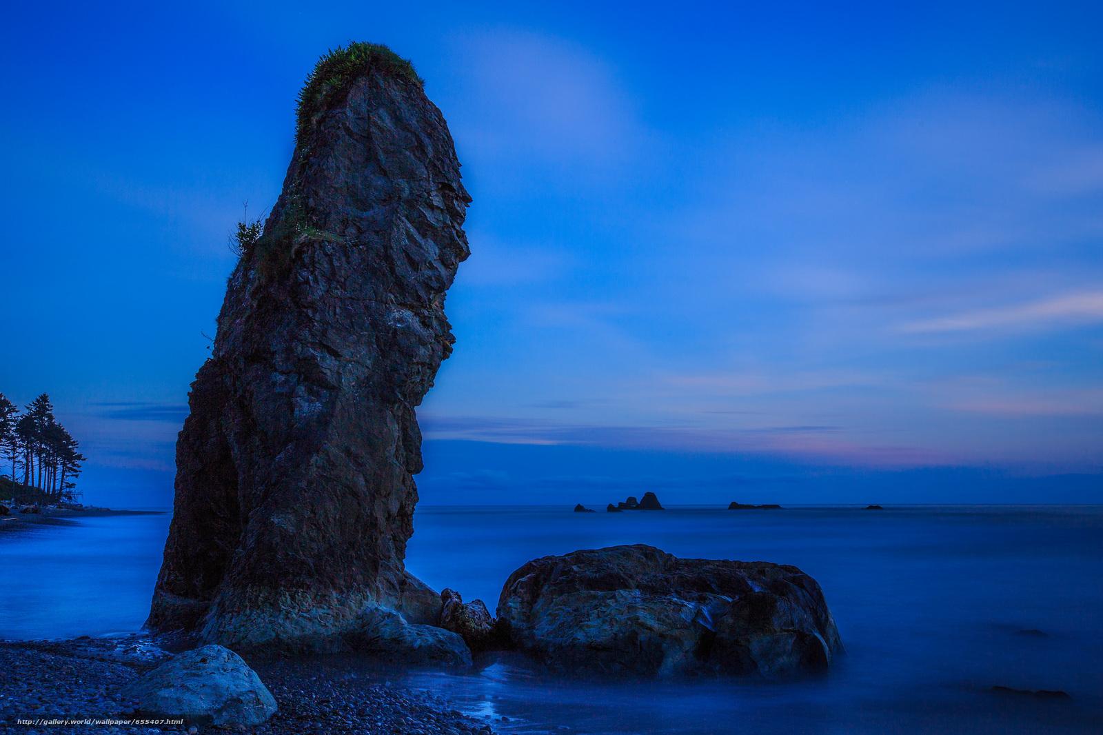Скачать обои море,  берег,  скала,  закат бесплатно для рабочего стола в разрешении 2048x1365 — картинка №655407