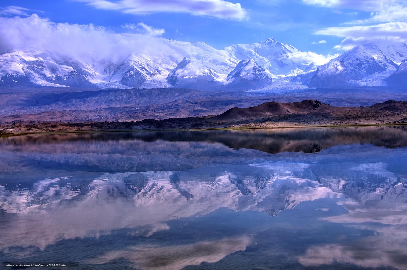 scaricare gli sfondi Pamir,  Lago di riflessione Karakul,  Xinjiang Sfondi gratis per la risoluzione del desktop 2048x1360 — immagine №655413