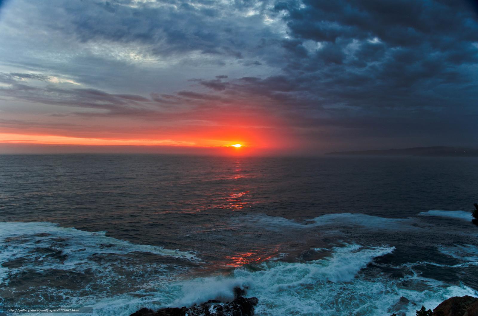 Download wallpaper sunset,  sea,  waves,  landscape free desktop wallpaper in the resolution 4928x3264 — picture №655897