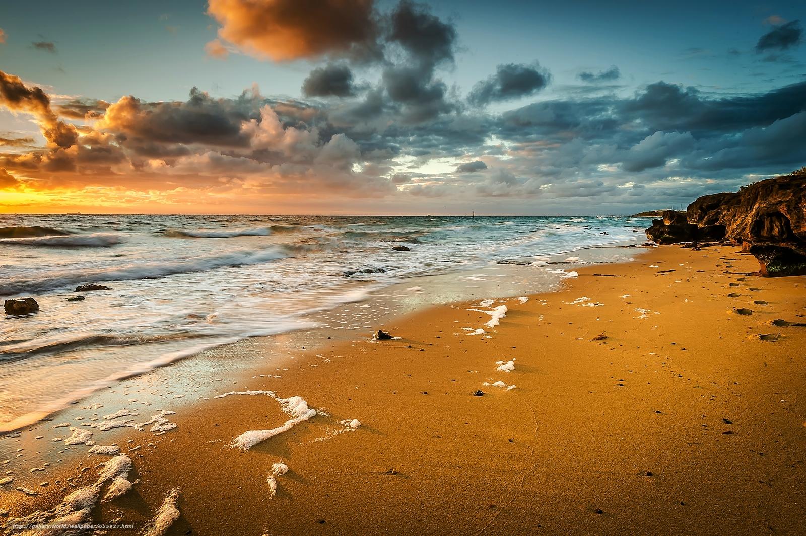 壁紙をダウンロード 日没,  海,  波浪,  風景 デスクトップの解像度のための無料壁紙 4612x3069 — 絵 №655927
