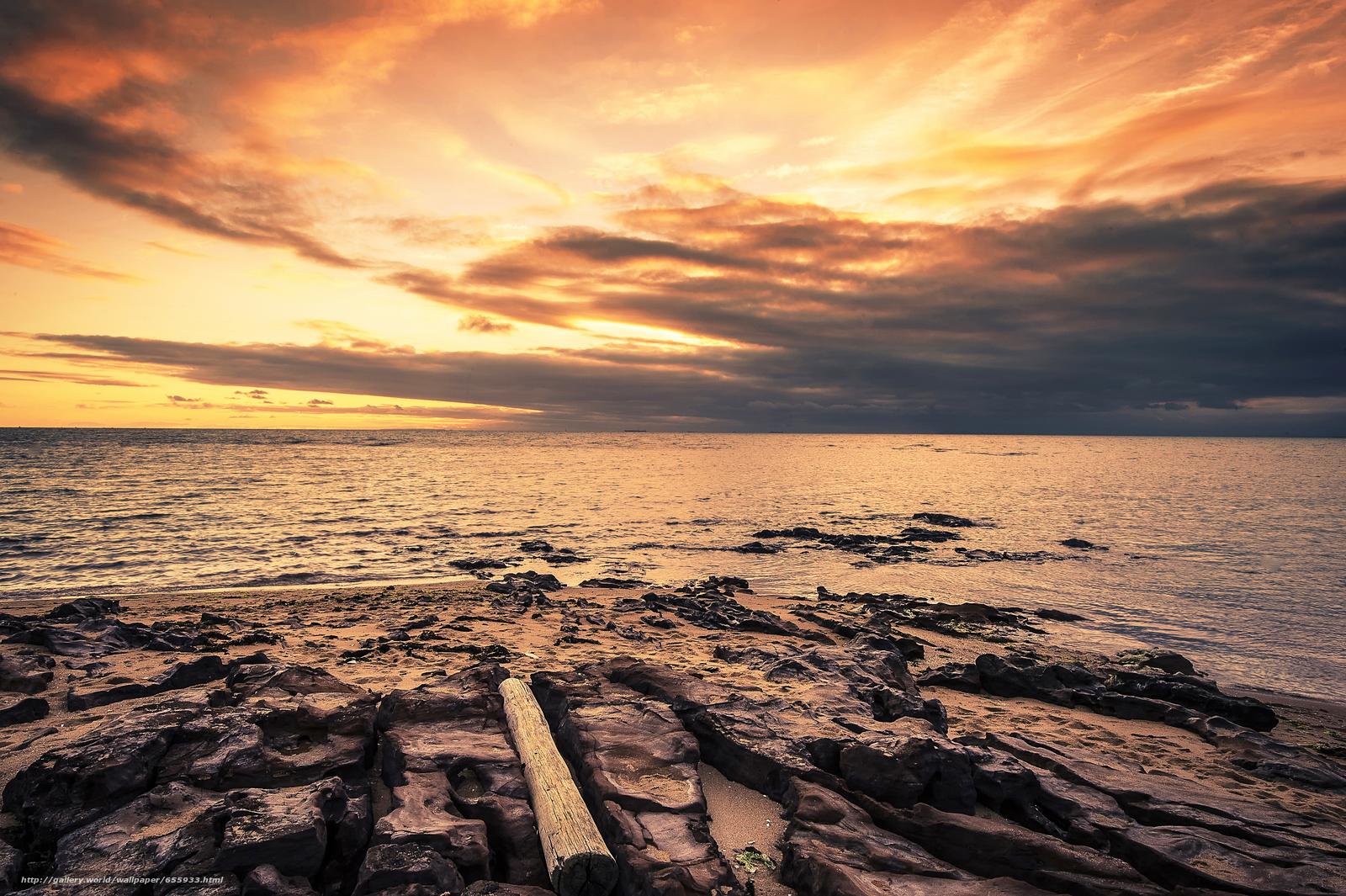Download wallpaper sunset,  sea,  waves,  landscape free desktop wallpaper in the resolution 4688x3120 — picture №655933